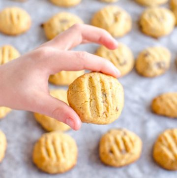 child's hand holding a cookie