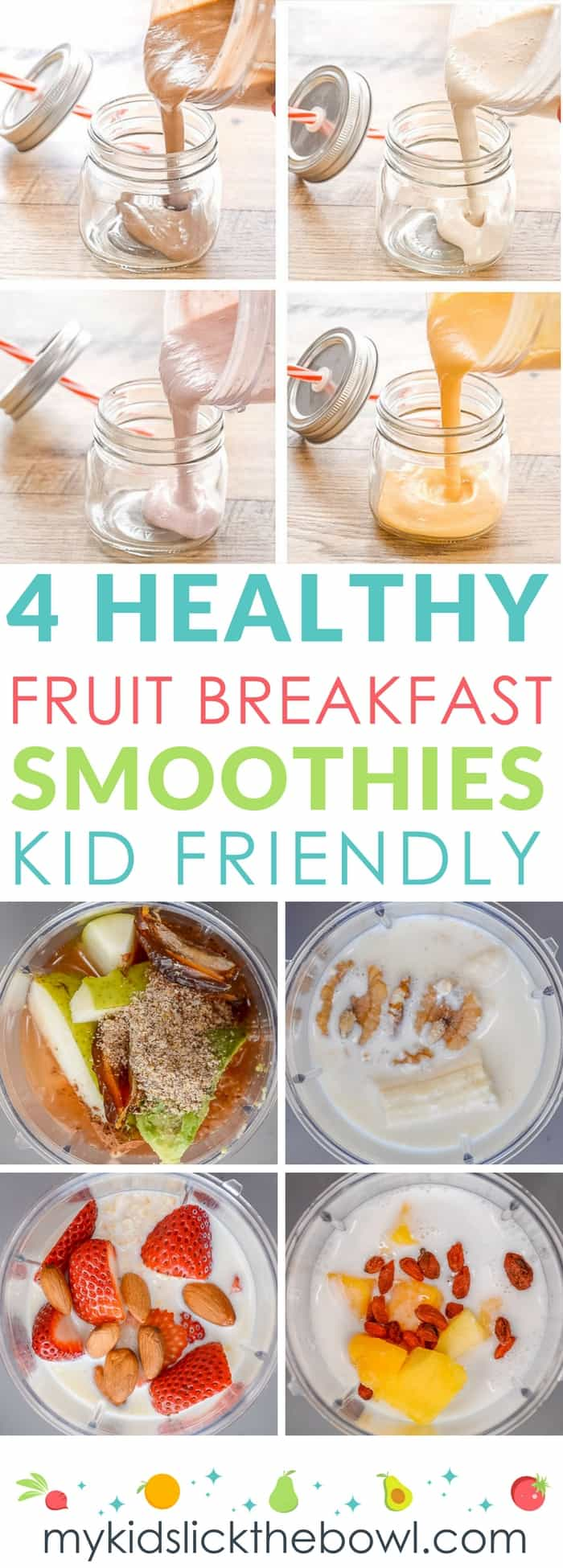 Healthy fruit breakfast smoothies for kids, easy recipes with loaded with healthy fats and grains