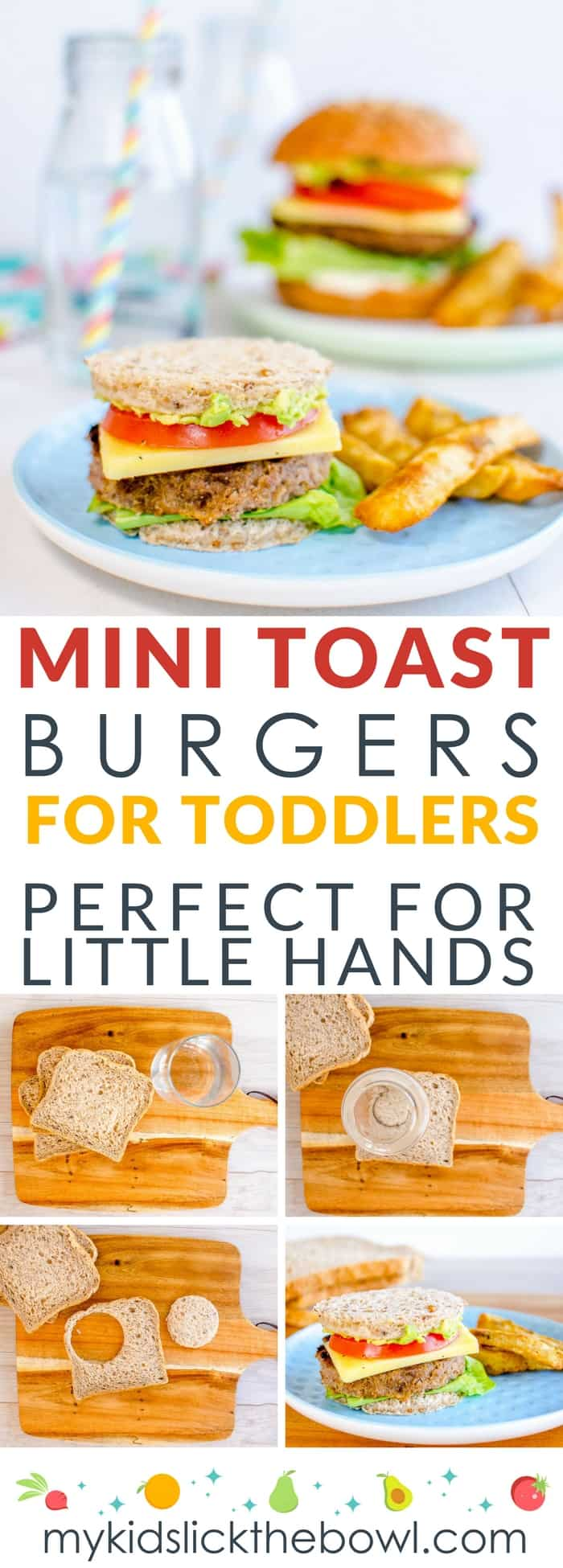 Mini toast burgers for toddlers a kid friendly dinner perfect for picky eaters and baby led weaning #kidfriendlydinners #pickyeaters #burgers #babyledweaning