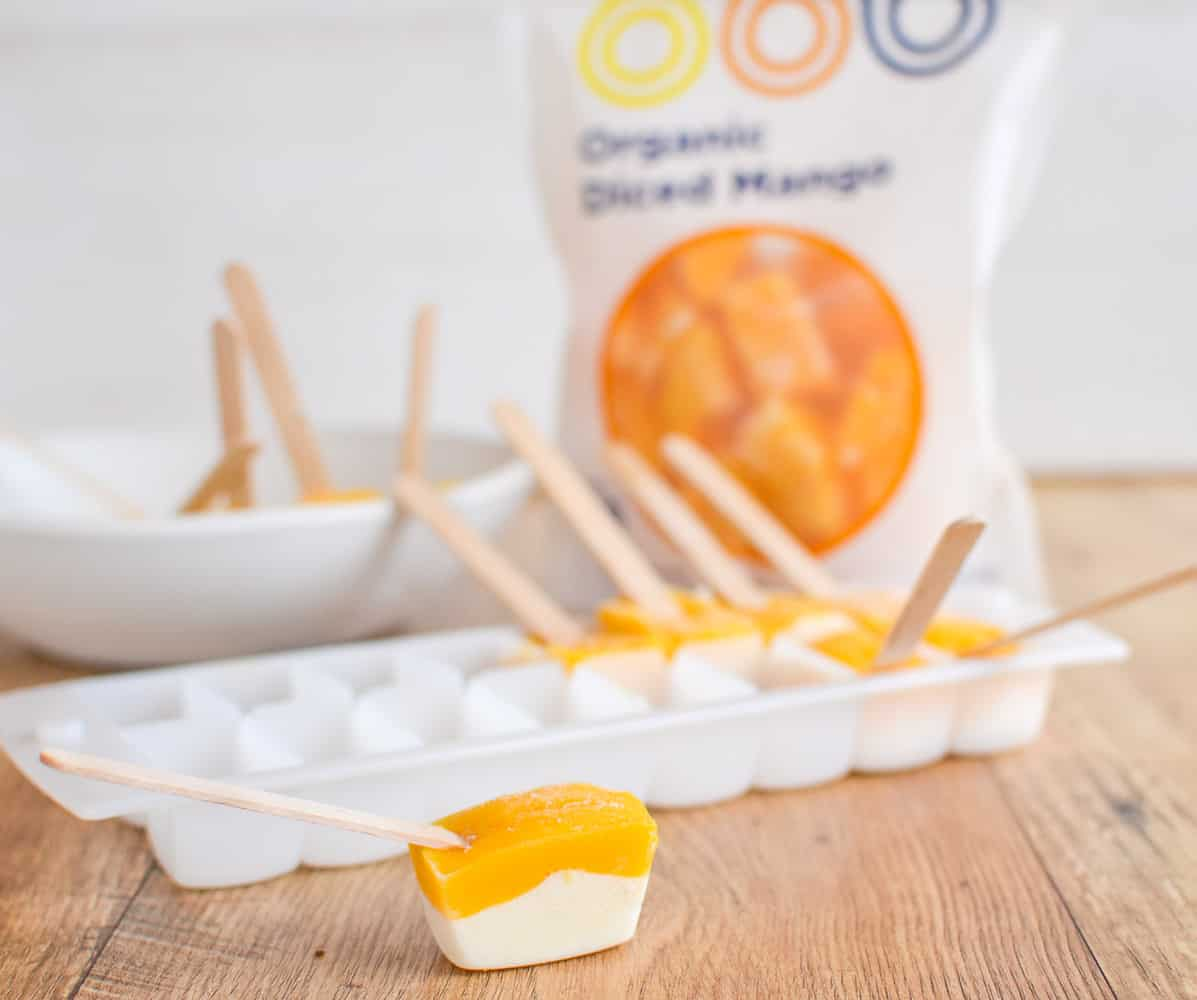 Frozen mango cheesecake bites, healthy dessert idea, easy, fun kid friendly 4 ingredients