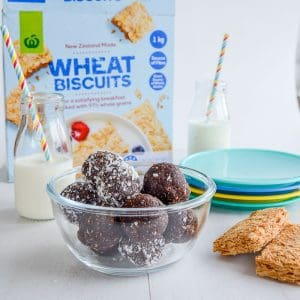 bliss balls with no dates and nut free, a great energy bite recipe for kids made with wheat biscuits