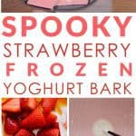 A Healthy Halloween Treat. How to make spooky strawberry frozen yoghurt bark for your children #halloween
