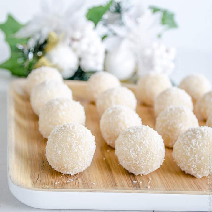 coconut snowballs, easy refined sugar free recipe, an allergy friendly Christmas treat
