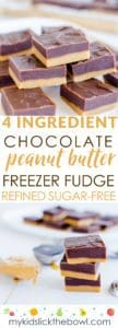 Easy peanut butter freezer fudge, 4 ingredients, healthy, refined sugar free, no bake, a simple homemade alternative to Reeses
