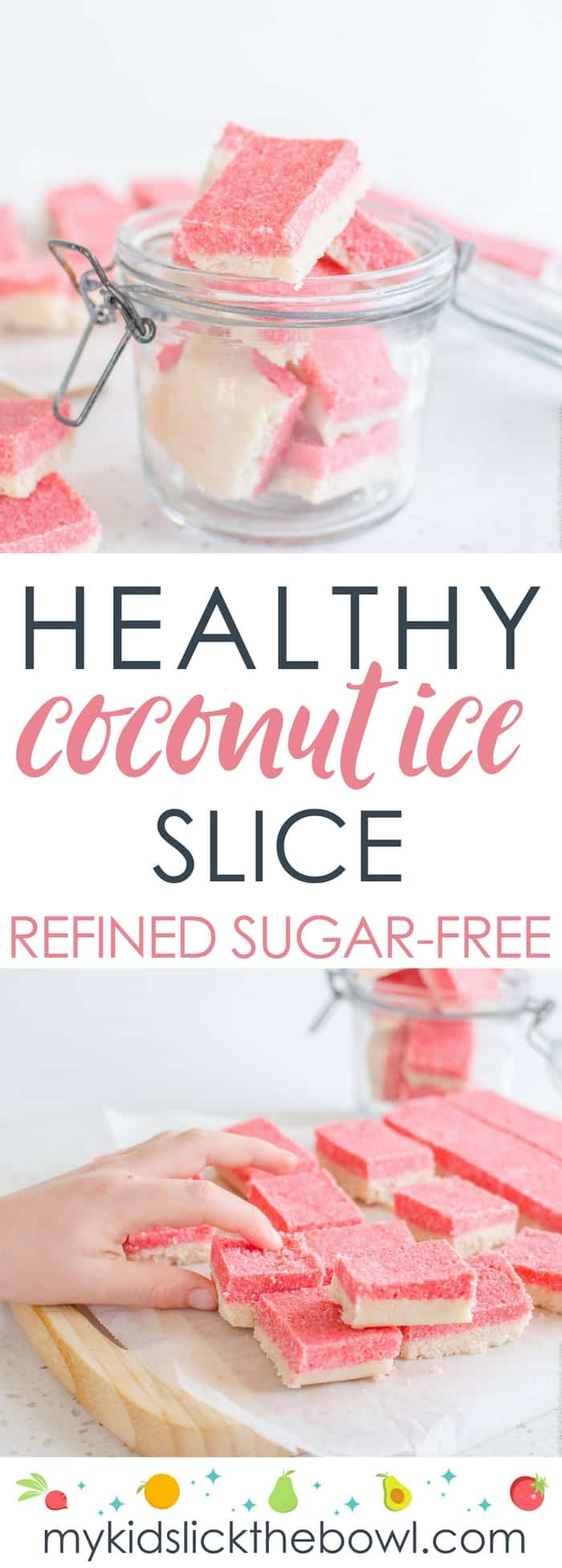healthy coconut ice slice an easy recipe, low sugar, paleo, vegan #coconutice