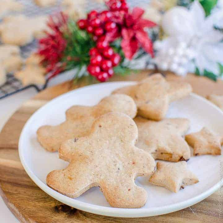Low Sugar Christmas Cookie Recipe, refined sugar free cookies, allergy friendly gluten free, egg free and dairy free perfect for kids