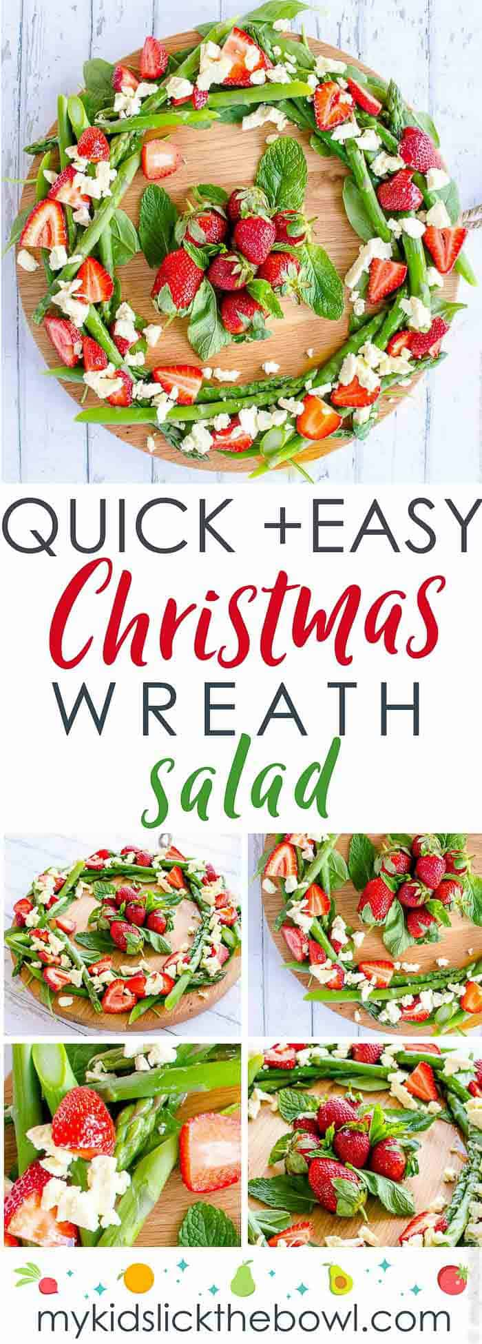 Quick Christmas Wreath Salad an easy healthy summer Christmas salad made with fruit and vegetables