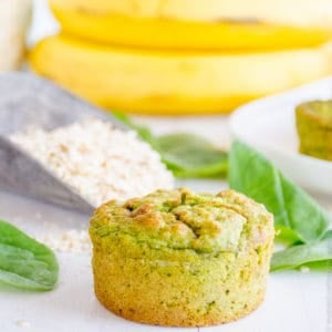 Spinach Muffins For Toddlers, an easy healthy veggie recipe sweetened with bananas perfect snack for kids, refined sugar free