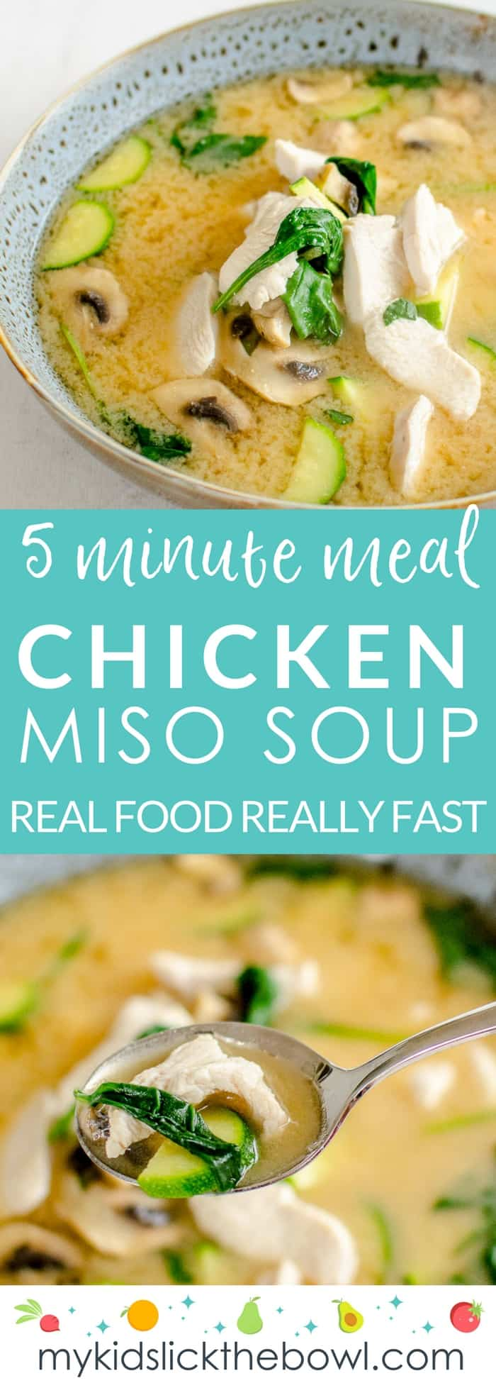 5-minute meals chicken miso soup, a super quick healthy and easy recipe which is ready in 5 minutes, perfect for busy moms