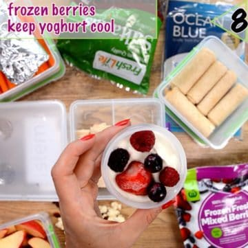 Healthy lunch box ideas packing ideas, frozen berries keeps yoghurt cool