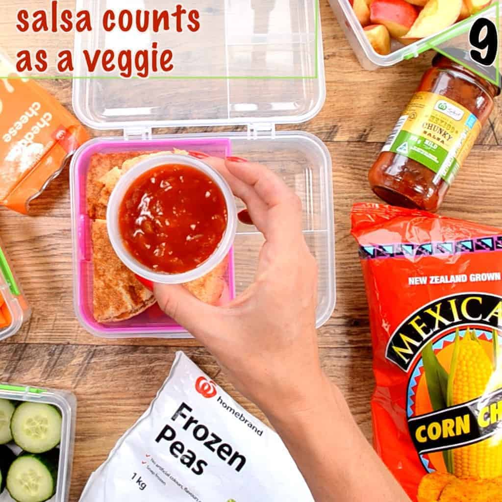 Healthy lunch box ideas packing tip, try sending salsa