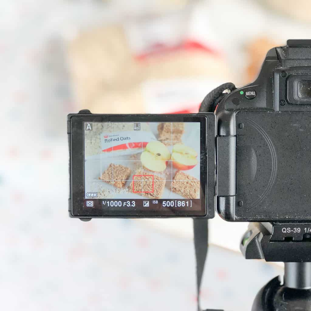 Behind the scenes shooting the apple pie healthy oat bars