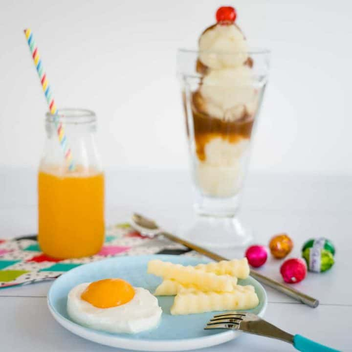 4 food pranks, Mashed potato sundae, undrinkable juice, tomato easter eggs, apricot poached egg