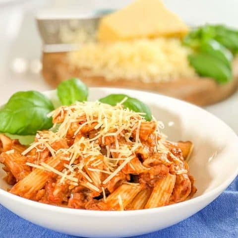 Tomato bacon pasta with hidden mushrooms A family friendly meal with hidden vegetables for picky eaters