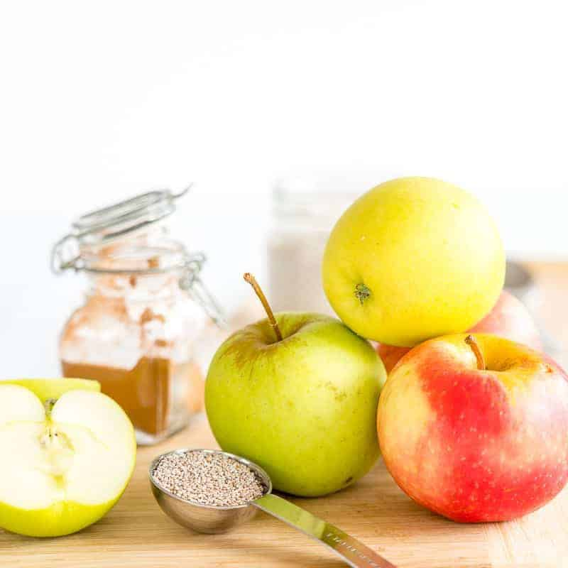 Apples, chia seeds and cinnamon, ingredients for the chia pudding