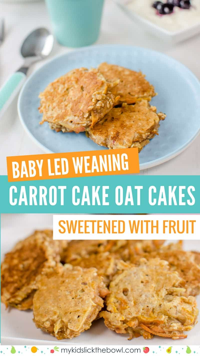 Carrot Cake Oat Cakes Healthy pancakes on a blue plate