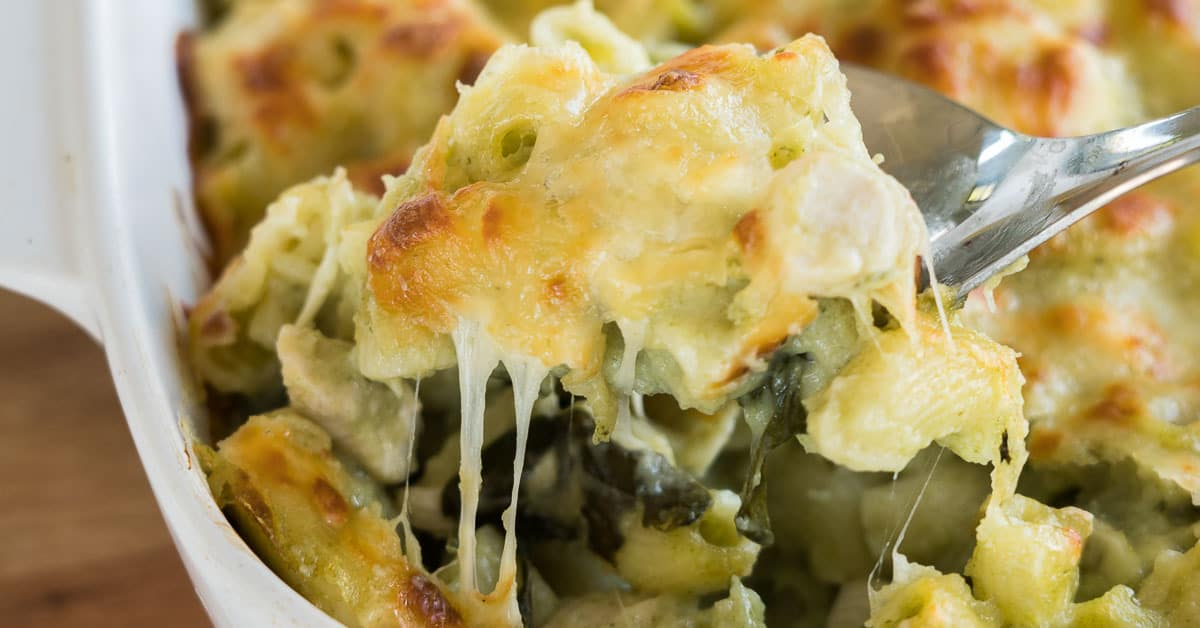 Chicken Pasta Bake Family Friendly Loaded With Spinach And