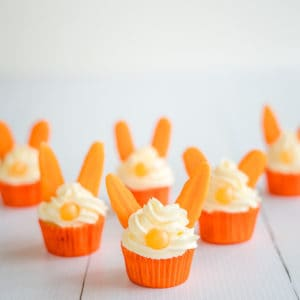 Easter Bunny Carrot Cupcakes are a fun easter treat for kids, as well as a brilliantly simple kitchen project to get kids baking in the kitchen this Easter!