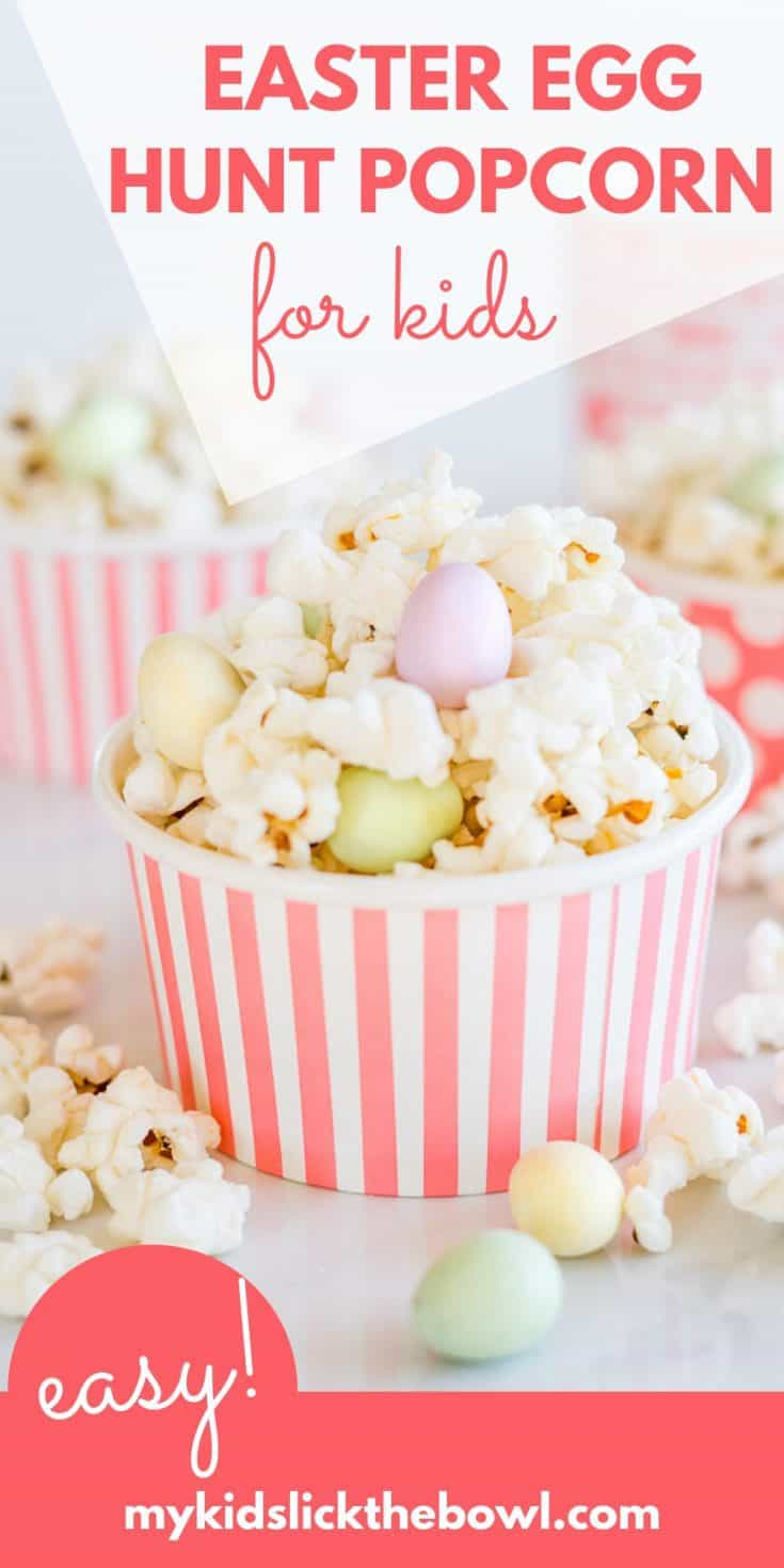 Want your easter eggs to go a little bit further, try serving them with popcorn for a fun easter treat #kidssnack #easter #eastereggs #easterrecipes