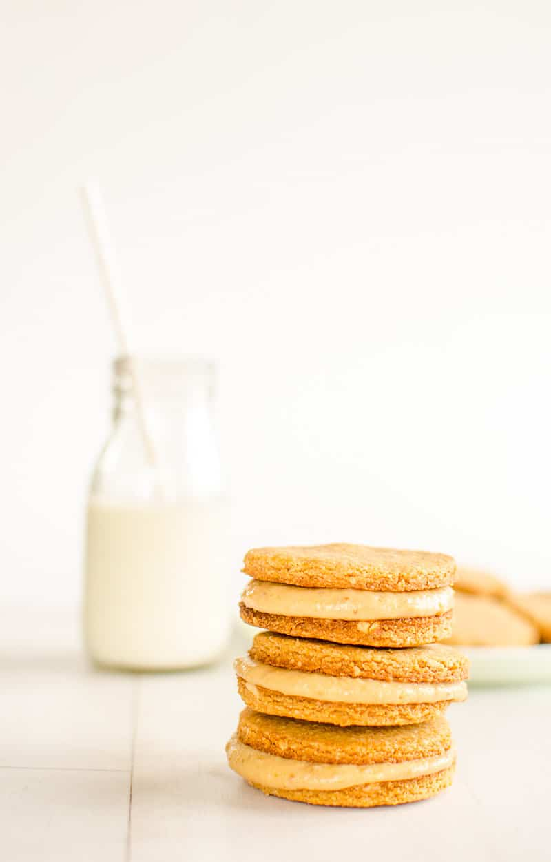 grain-free peanut butter cookies filled with healthy peanut butter cream
