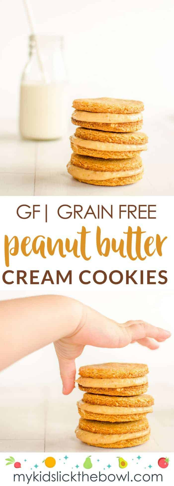 grain-free peanut butter cookies filled with healthy peanut butter cream , perfect for kids who love peanut butter