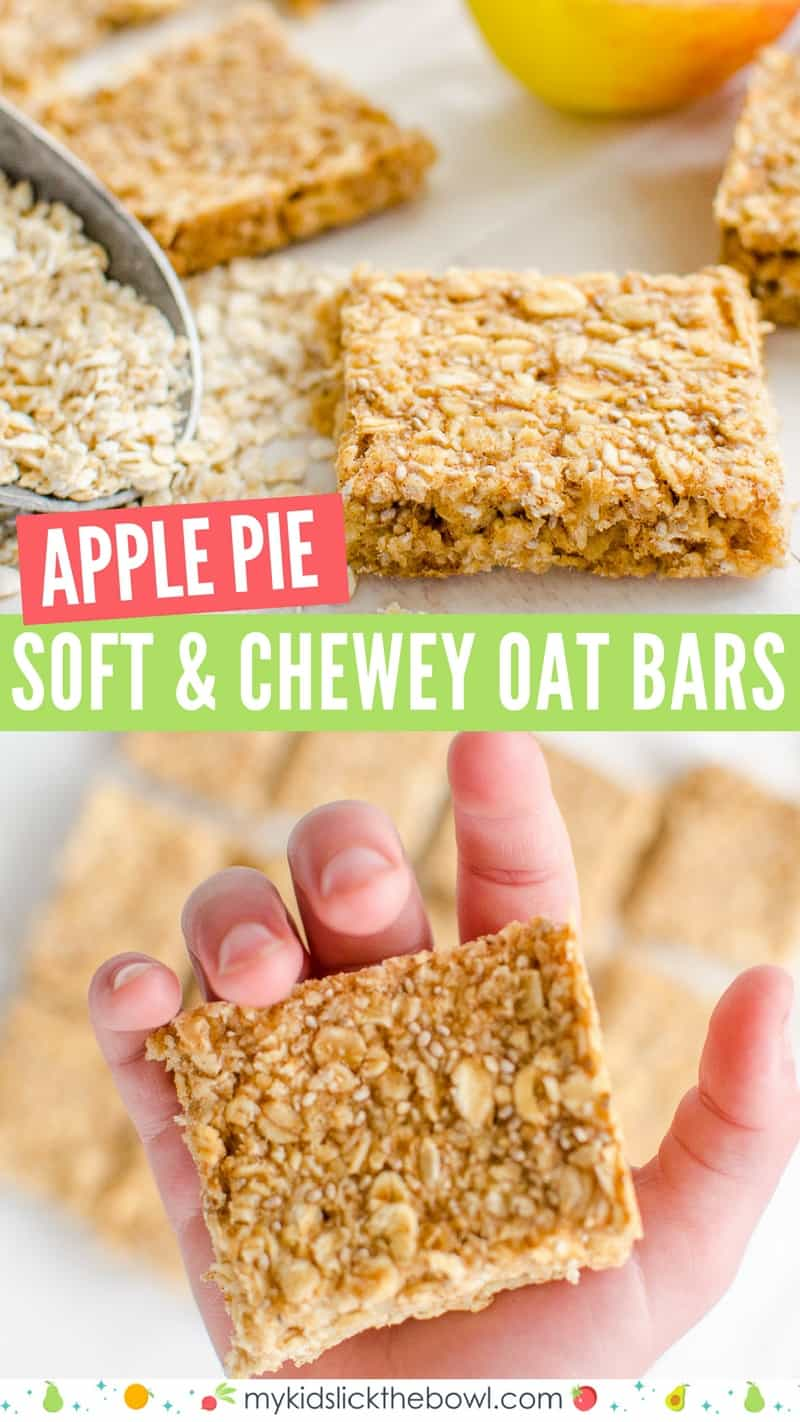 healthy oat bars, apple pie flavour an easy granola bar recipe, oat flap jacks are perfect for kids toddlers and baby led weaning #granola bar #snackattack #babyledweaning