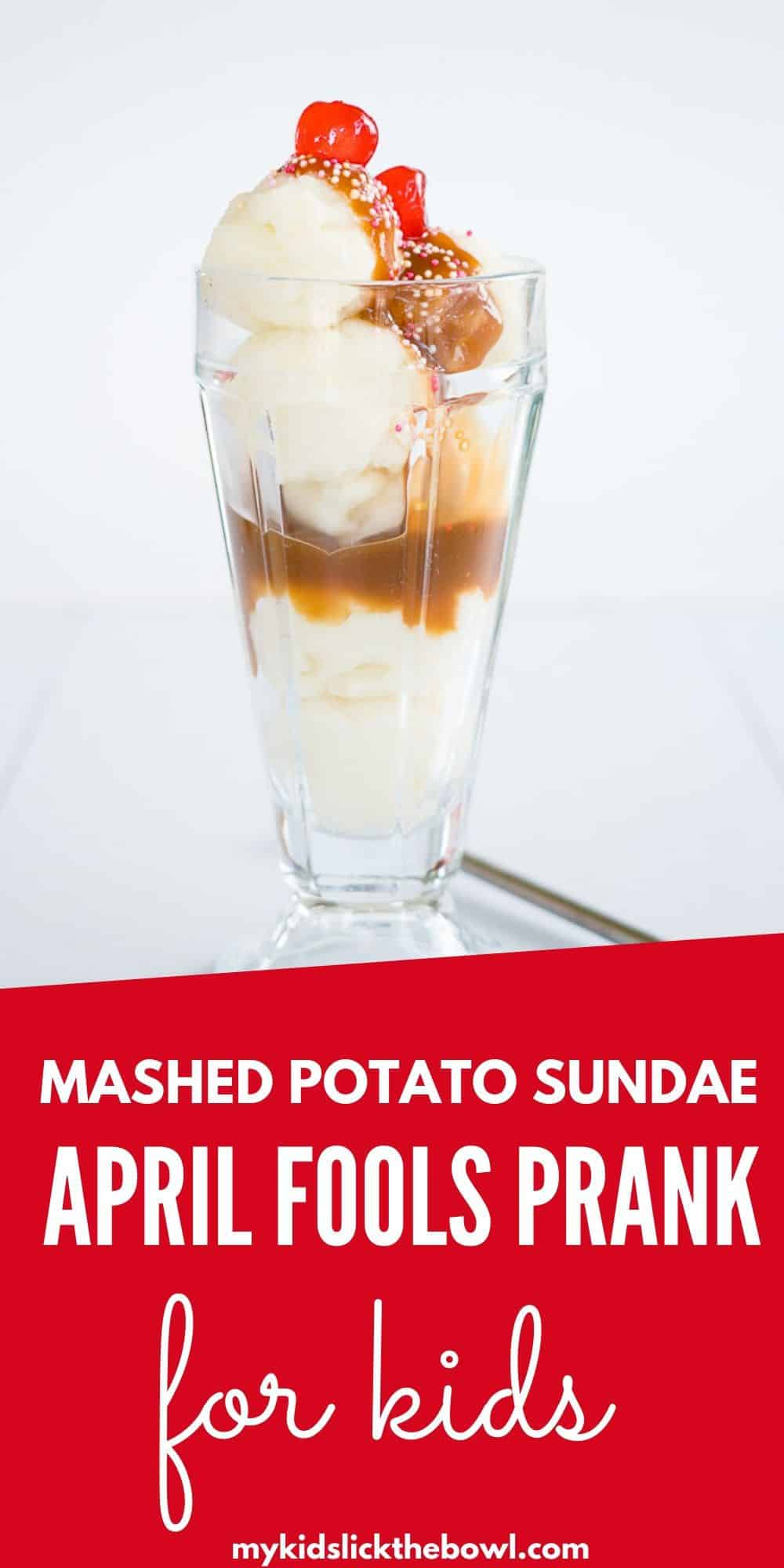 and ice cream sundae in a tall glass, made from scoops of mashed potato and gravy