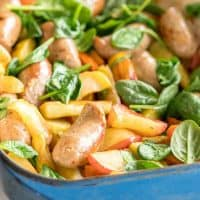 Sausage Bake - An easy one tray recipe made with pork sausages, apples and sweet potatoes. A real kid friendly family meal
