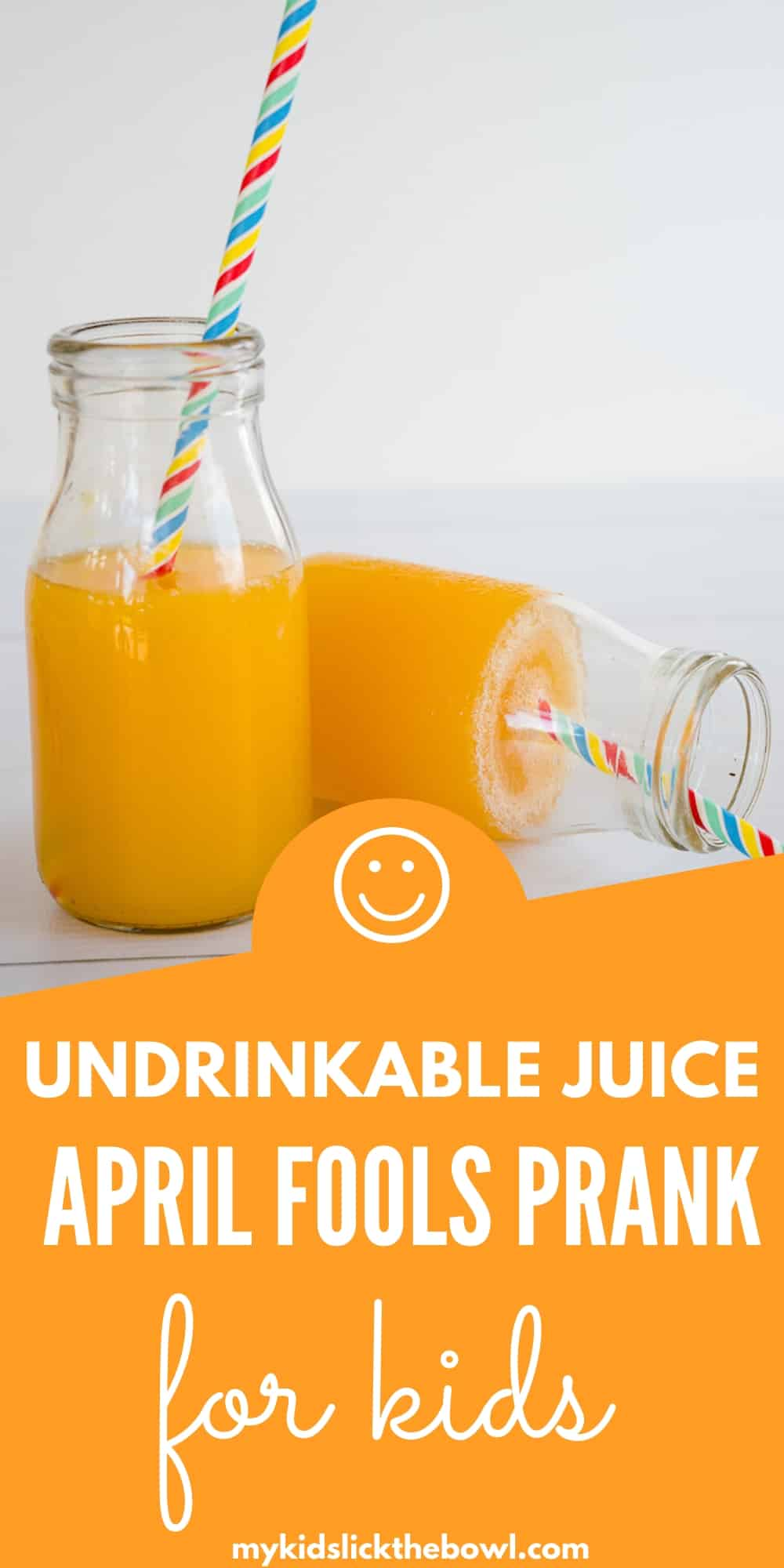 undrinkable juice, a bottle of juice toppled over not spilling as thickened with gelatine