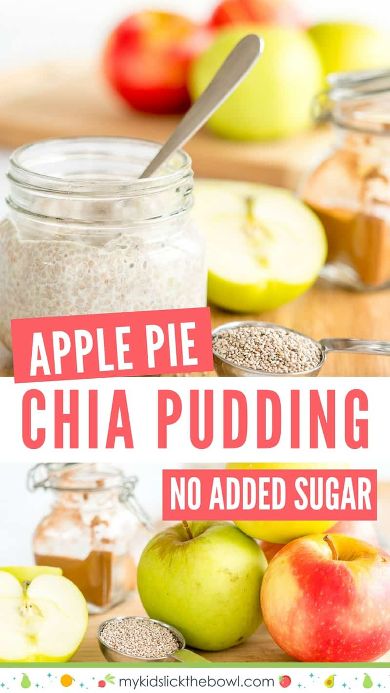 apple pie chia pudding a healthy recipe with apple and cinnamon, egg free custard perfect for baby led weaning