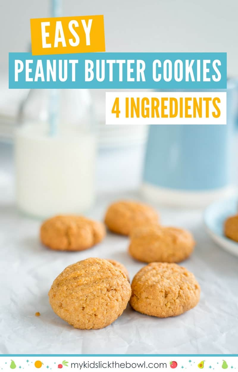 easy 4 ingredient peanut butter cookies, pile of cookies on a white service with a glass of milk