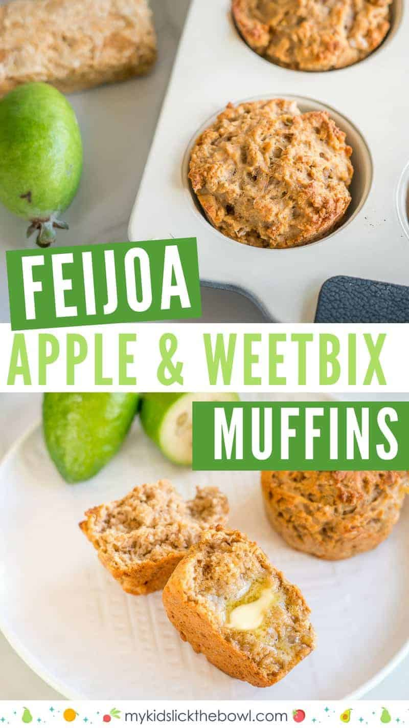 Feijoa apple and weetbix muffins, close up of muffin in white tray, and broken in half with butter