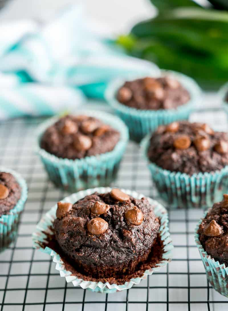 Zucchini Muffins Double Choc Grain free sitting on a cooling rack in blue spotted muffin liners