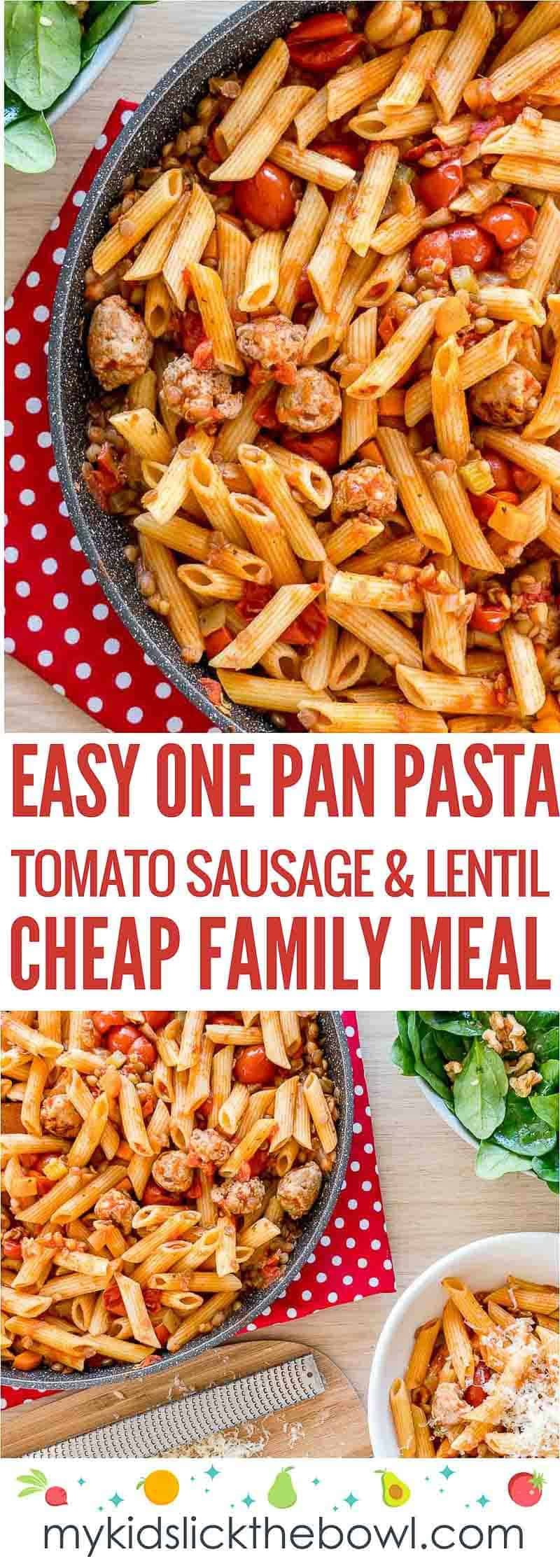 One pan pasta flavoured with tomatoes sausage and lentils