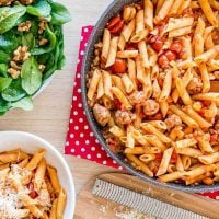 One Pan Pasta flavoured with tomato sausage and lentil