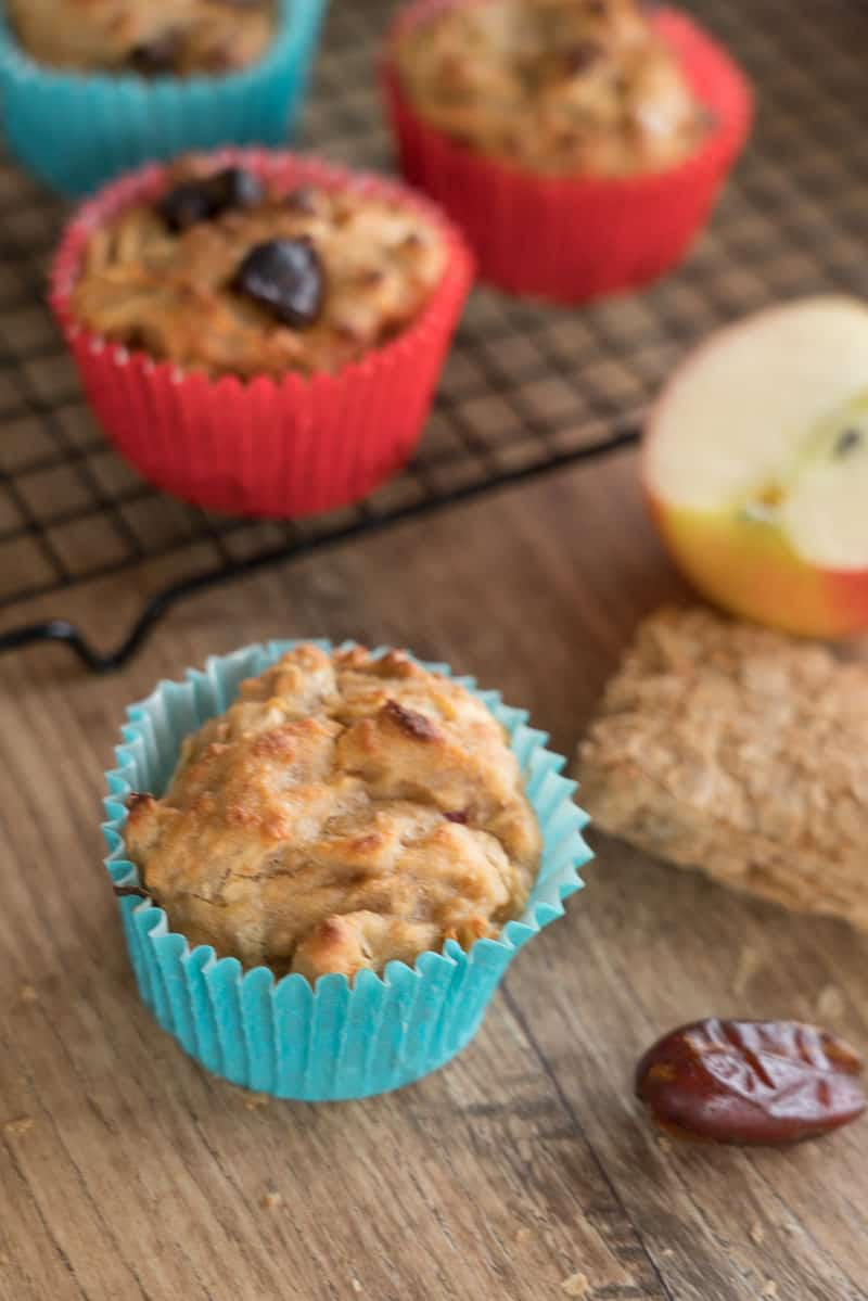 apple and date muffins made with wheat biscuits