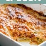 chicken leek pie in a grey pie dish, one piece removed