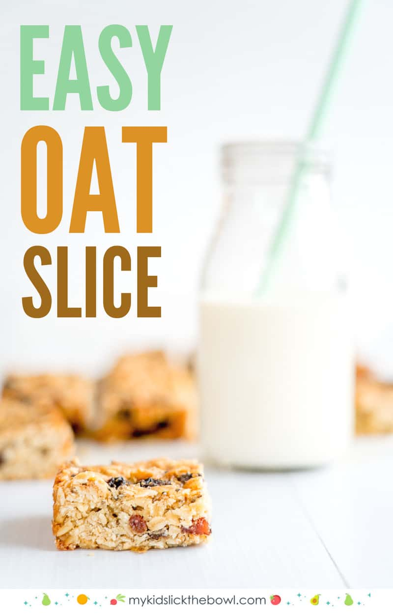 An easy oat slice recipe, made with rolled oats, chia seeds, and simple ingredients, my kids' favourite slice!