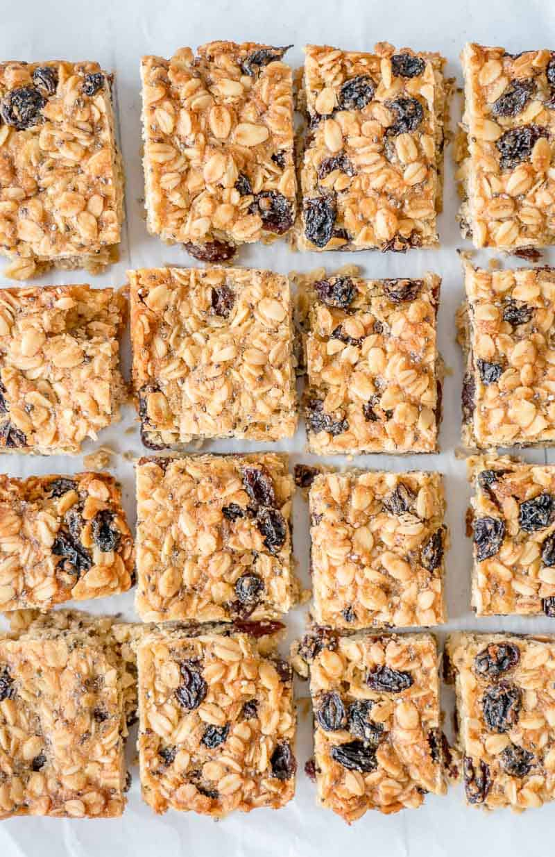 Top down shot of pieces of oat slice studded with raisins