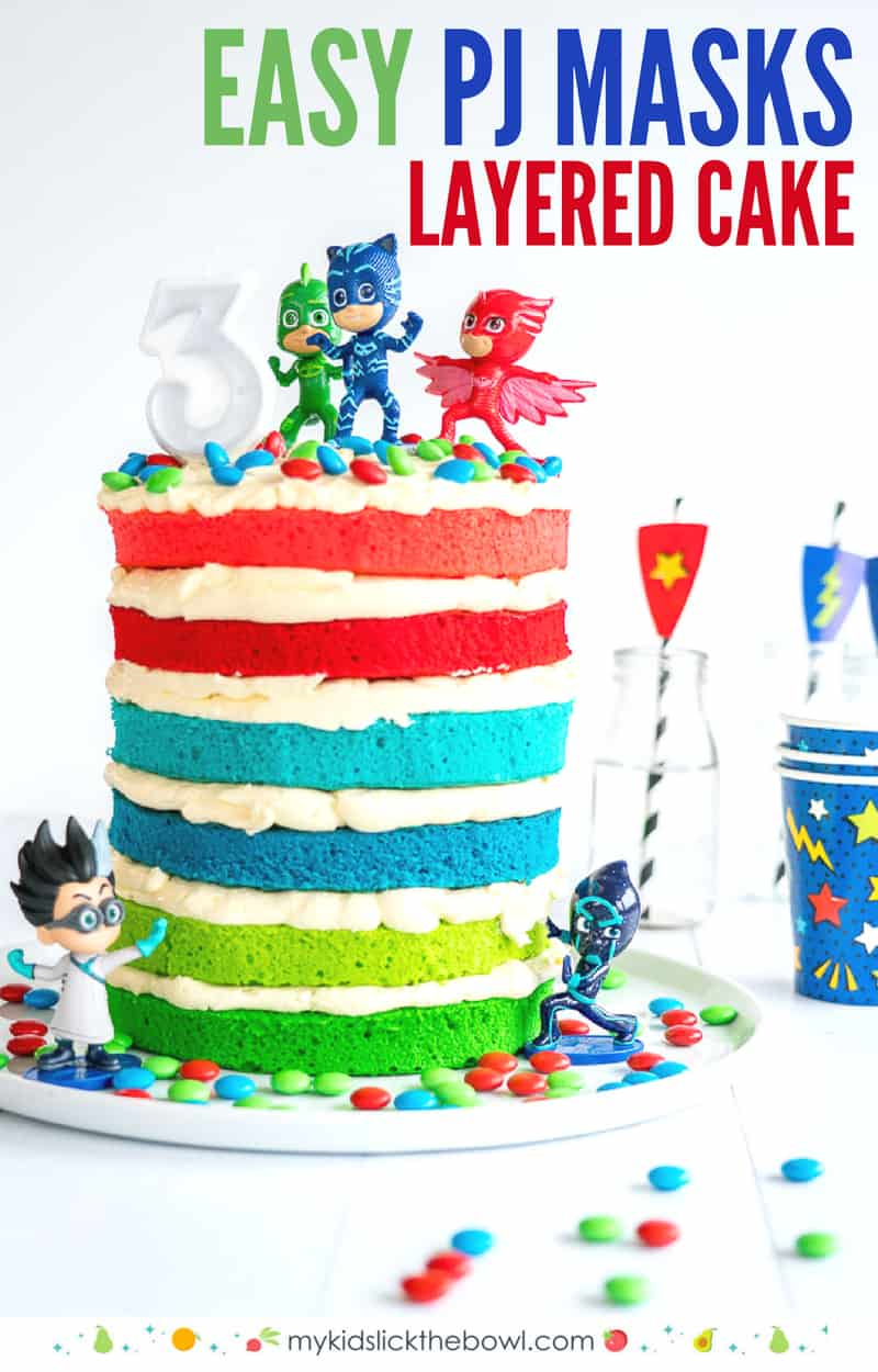 PJ Masks Cake A 6 layered coloured layered birthday cake, filled with butter cream and topped with PJ masks figurines
