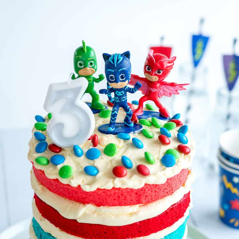 Brilliant Pj Masks Cake Easy Diy Birthday Cake For Kids Personalised Birthday Cards Veneteletsinfo