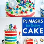 4 images of the pj masks cake showing the figurines on top and the 6 coloured layers