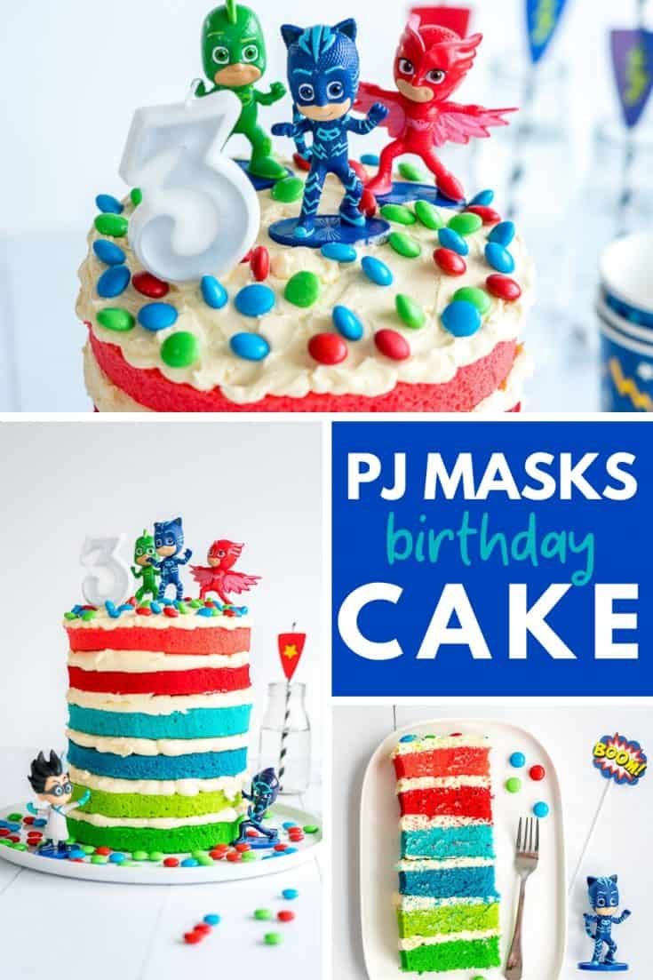 #kidsbirthdaycake #birthdaypartyideas #birthdaypartyidea #pjmaskspj masks birthday cake, easy to make colourful layer cake filled with butter cream, catboy, gecko all the crew on top, perfect for boys and girls #pjmasks #birthdaycake #kidsbirthday