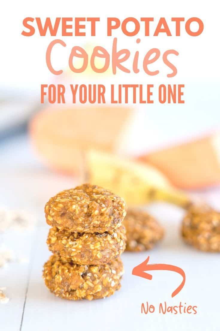Sweet Potato Cookies a baby led weaning recipe for soft healthy cookies with no added sugar perfect as a snack or breakfast idea #babyledweaning #babycookies #blwideas #homemadebabyfood