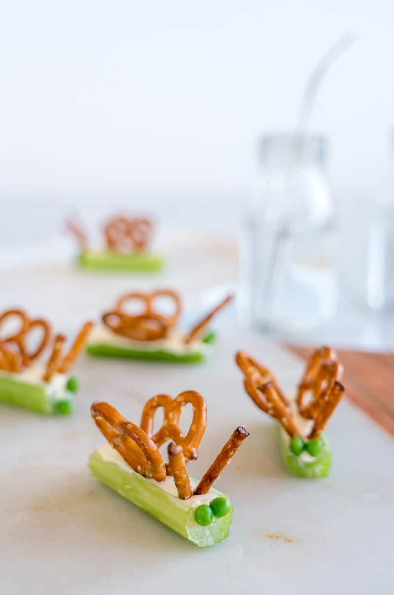 Celery Snacks For Kids filled celery stick butterflies with pretzels