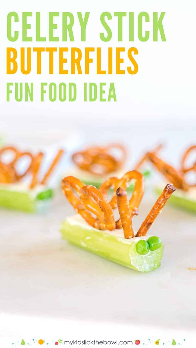 Celery Snacks For Kids filled celery stick butterflies with pretels