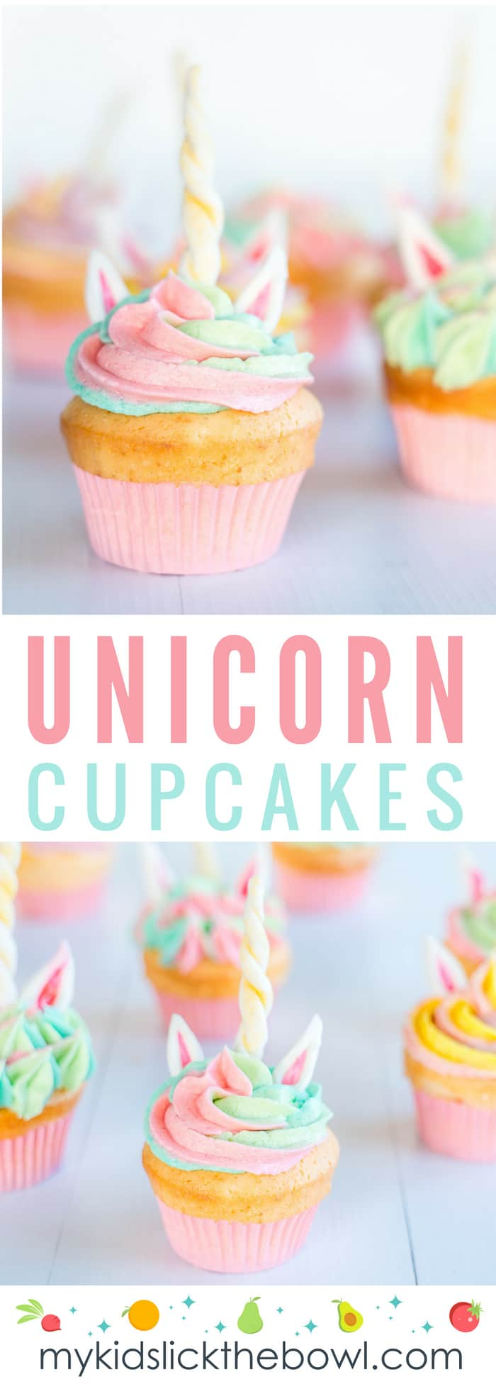 unicorn cupcakes with rainbow butter cream icing