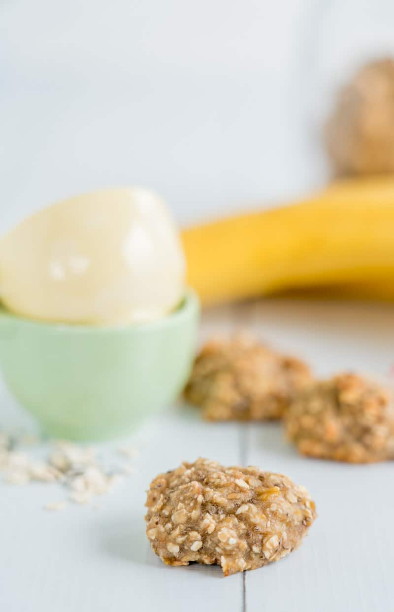 Basic banana oat baby cookies on a white table top