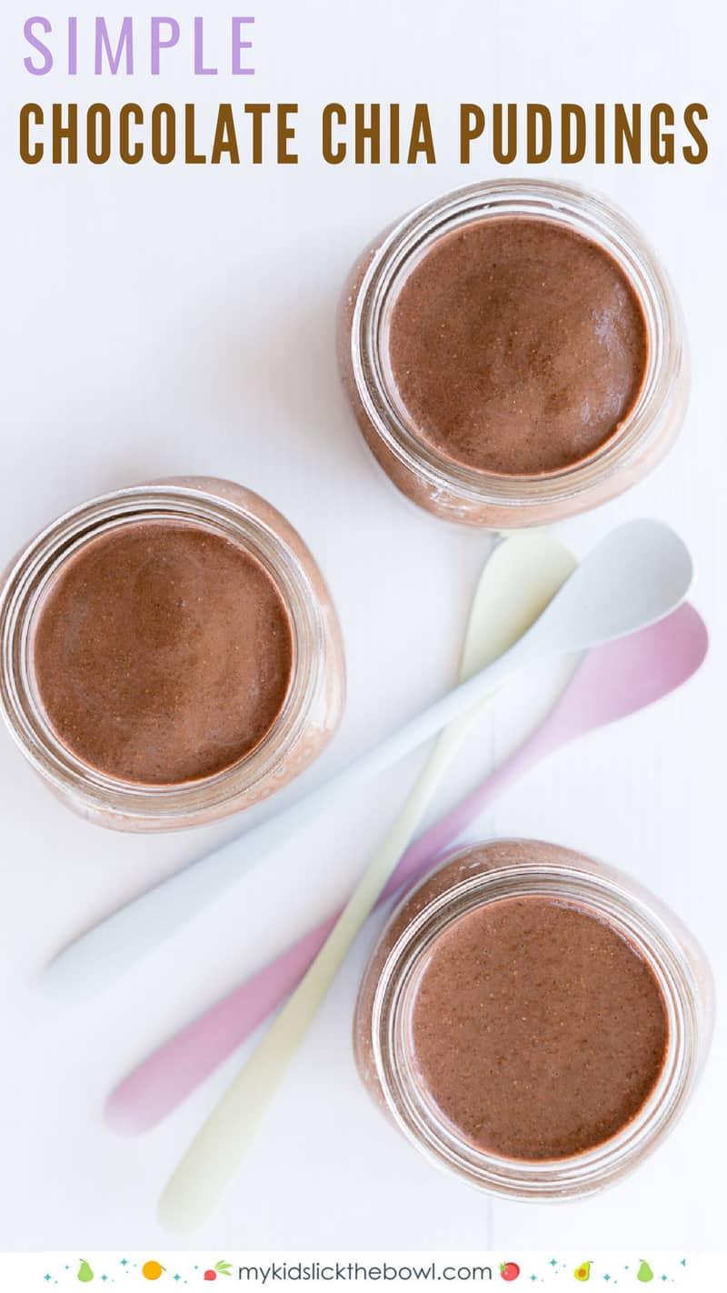 Chocolate Chia Puddings in jars
