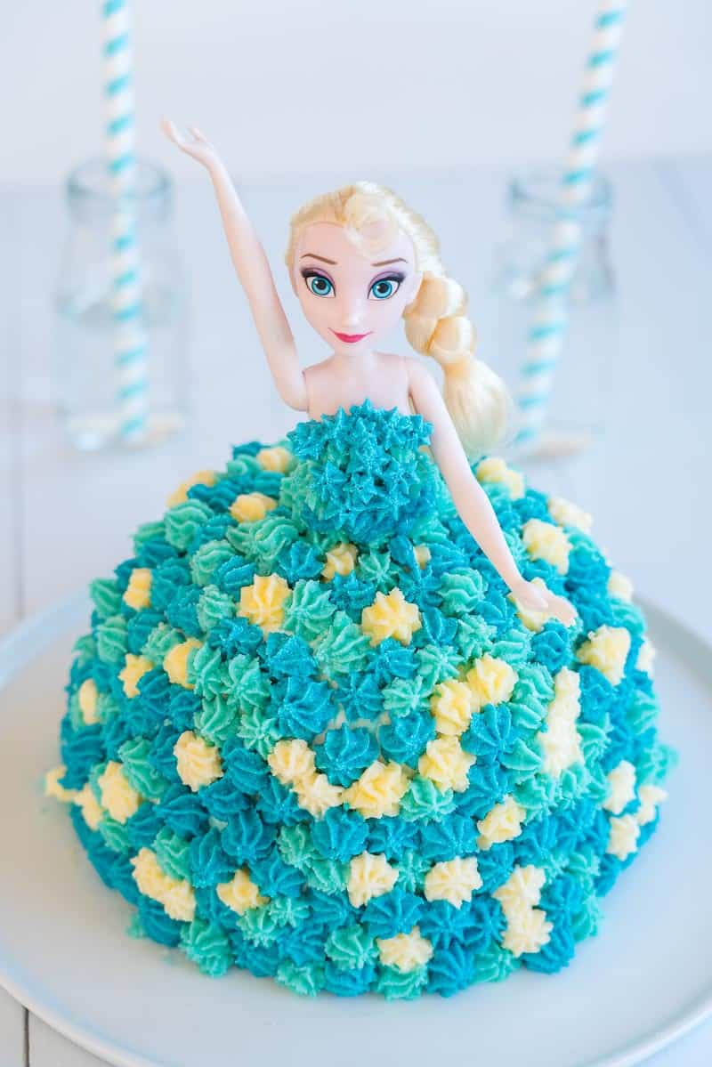 Elsa Birthday Cake made with ice cream